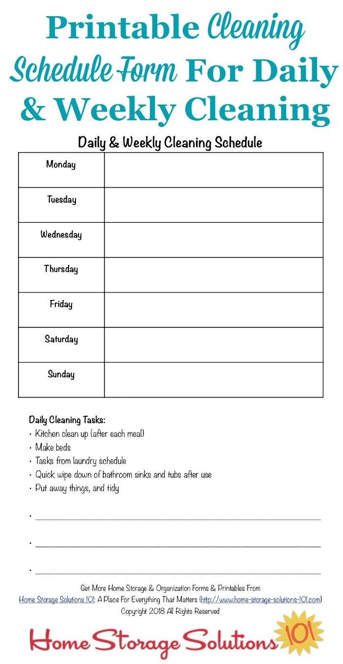 Printable Cleaning Schedule Form For Daily  Weekly Cleaning Within Blank Cleaning Schedule Template