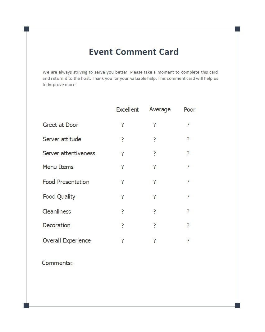 Printable Comment Card  Feedback Form Templates ᐅ Template Lab In Comment Cards Template