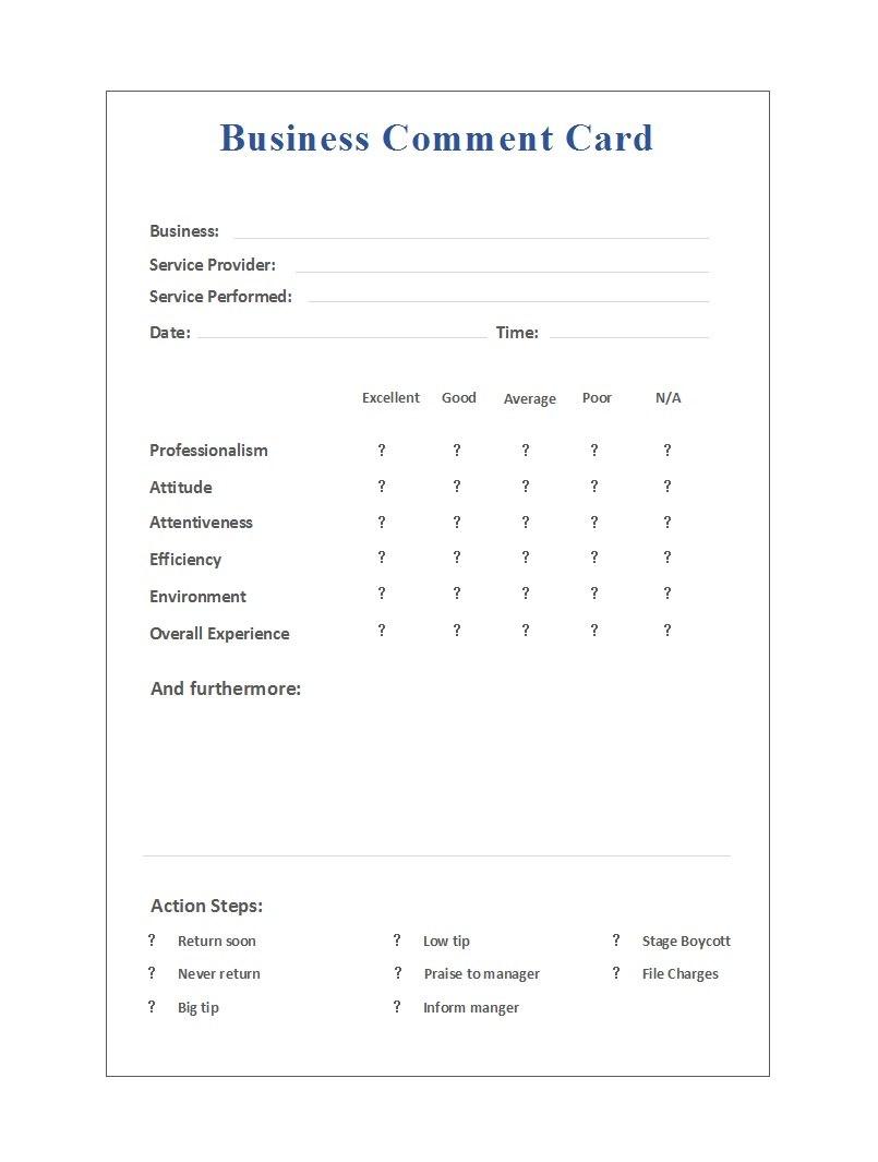 Printable Comment Card  Feedback Form Templates ᐅ Template Lab Intended For Sample Job Cards Templates