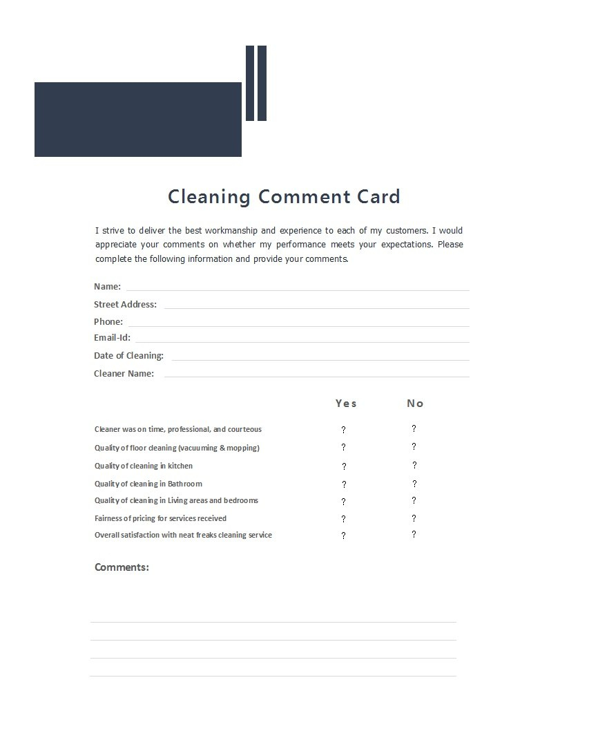Printable Comment Card  Feedback Form Templates ᐅ Template Lab Pertaining To Customer Information Card Template