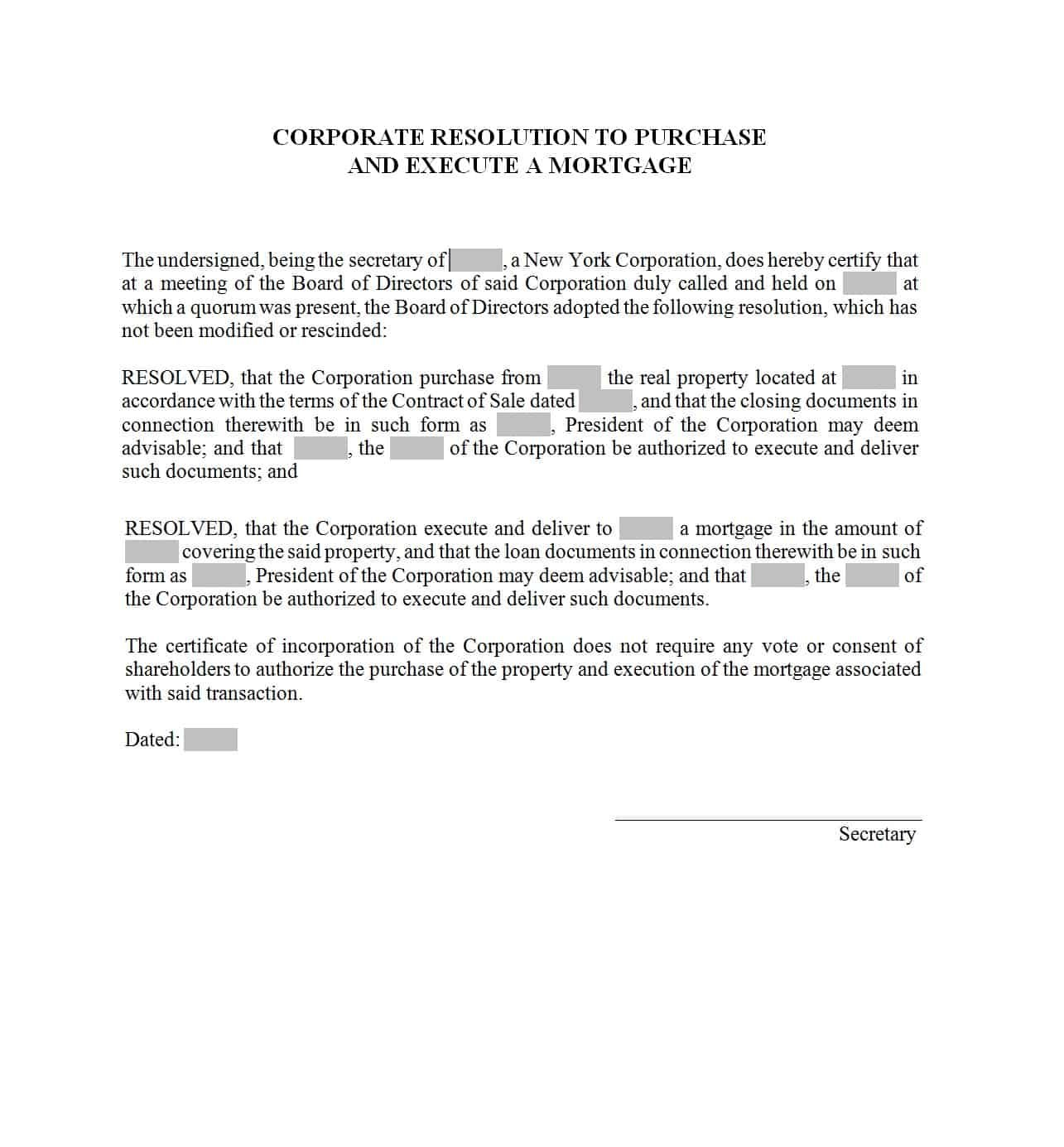 Printable Corporate Resolution Forms ᐅ Template Lab In S Corp Shareholder Agreement Template