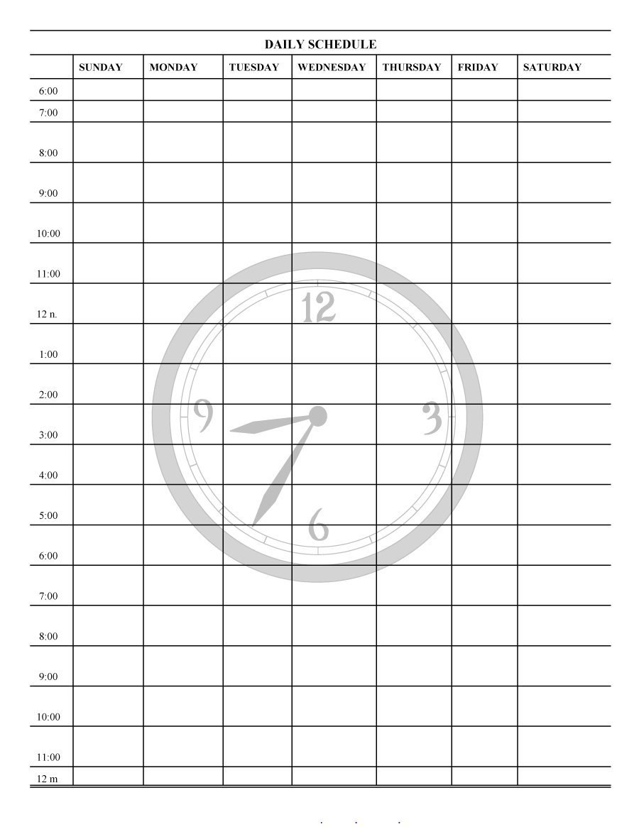 Printable Daily Planner Templates Free ᐅ Template Lab Inside Printable Blank Daily Schedule Template