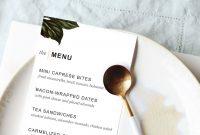 Printable Dinner Party Menu Template  Design Create Cultivate inside Blank Dinner Menu Template