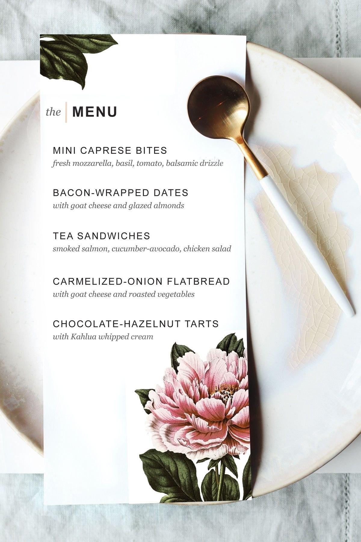 Printable Dinner Party Menu Template  Party Planning  Wedding Food Throughout Blank Dinner Menu Template