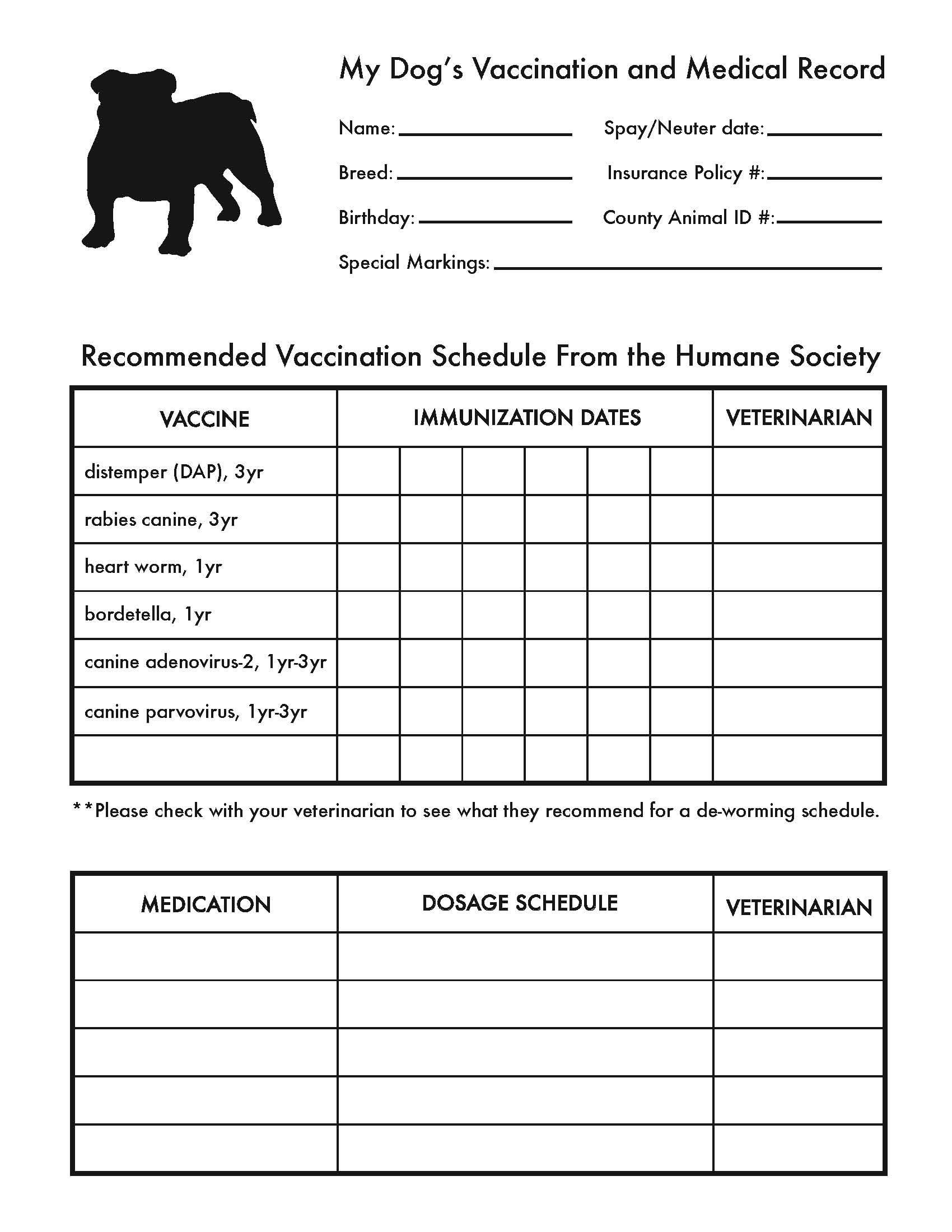 Printable Dog Shot Record Forms  Cute Pets  Dog Shots Dog Within Dog Vaccination Certificate Template