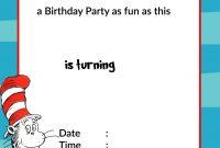 Printable Dr Seuss Birthday  Birthday Invitation For Kids in Dr Seuss Birthday Card Template