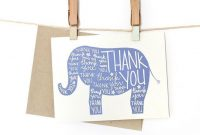 Printable Elephant Thank You Card  Printables  The Best Downloads inside Thank You Card Template For Baby Shower