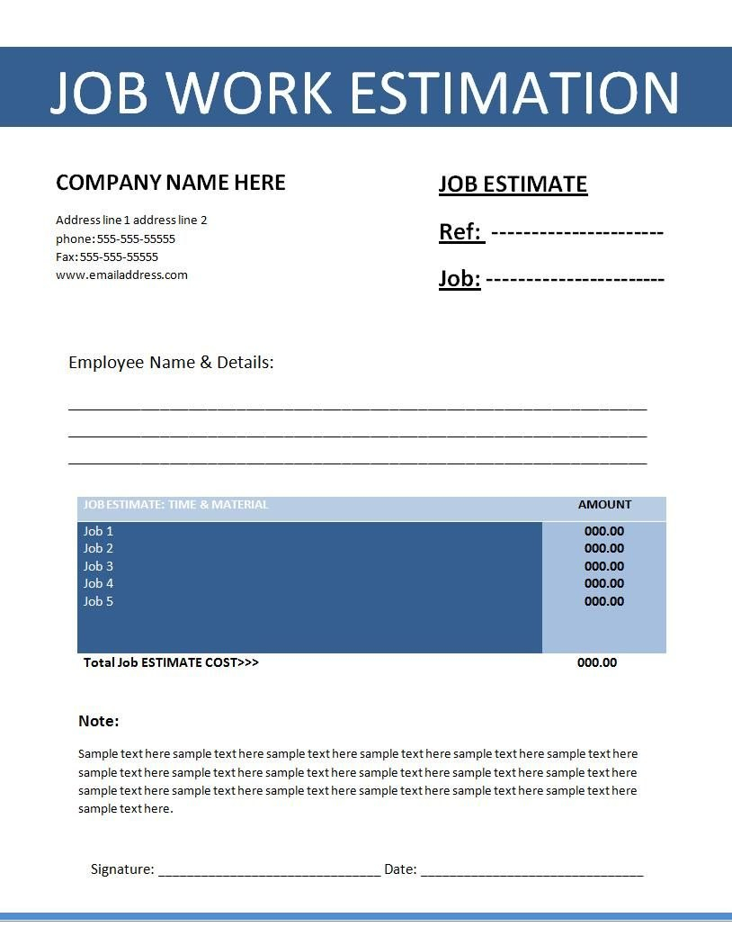 Printable Estimate Templates  Click On The Download Button To Get Within Work Estimate Template Word