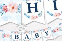 Printable Floral Banner Template Couples Baby Shower Bridal Editable  Alphabet Banner Navy Blue Pink Party Name Garland Digital Pdf throughout Bride To Be Banner Template