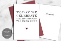 Printable Funny Anniversary Card For Him Instant Download  Best intended for Decision Card Template