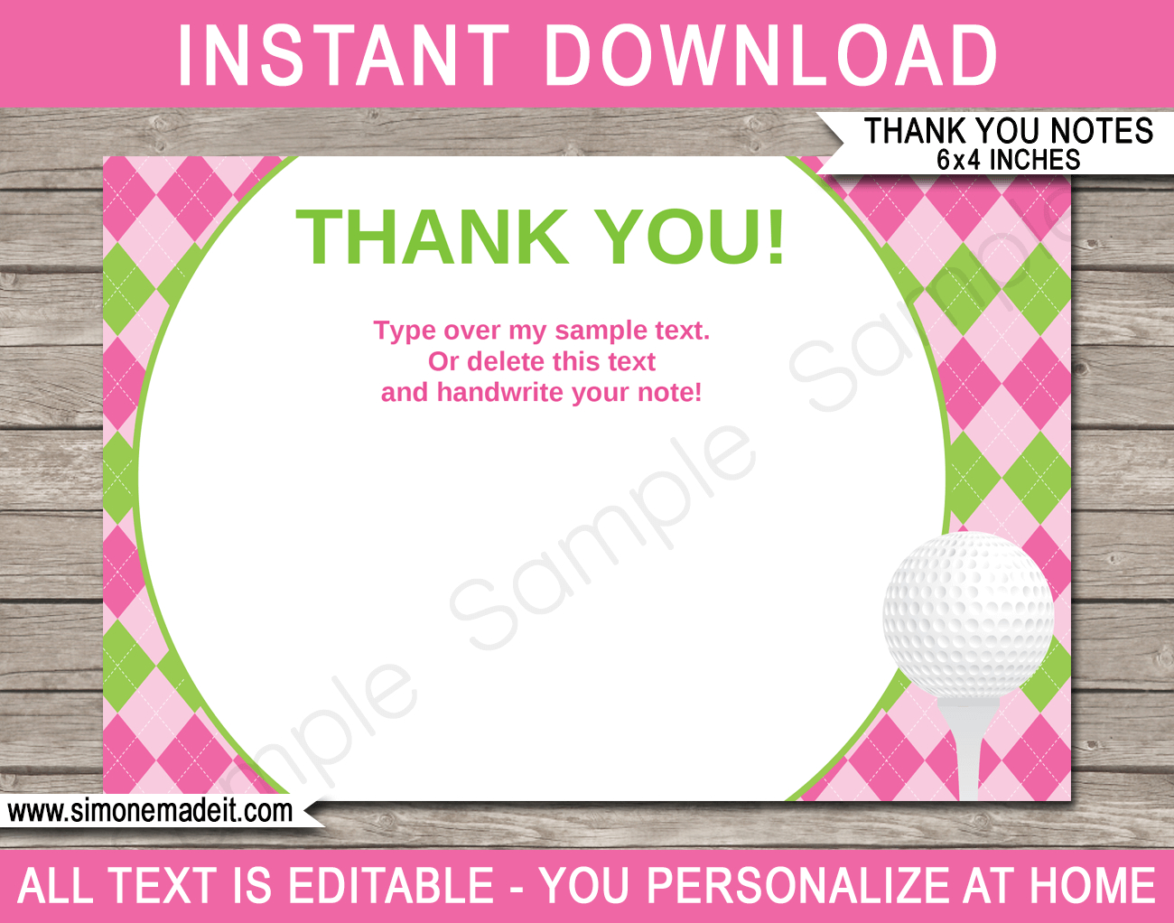 Printable Golf Birthday Party Thank You Note Cards  Ladies Golf Theme With Thank You Note Cards Template