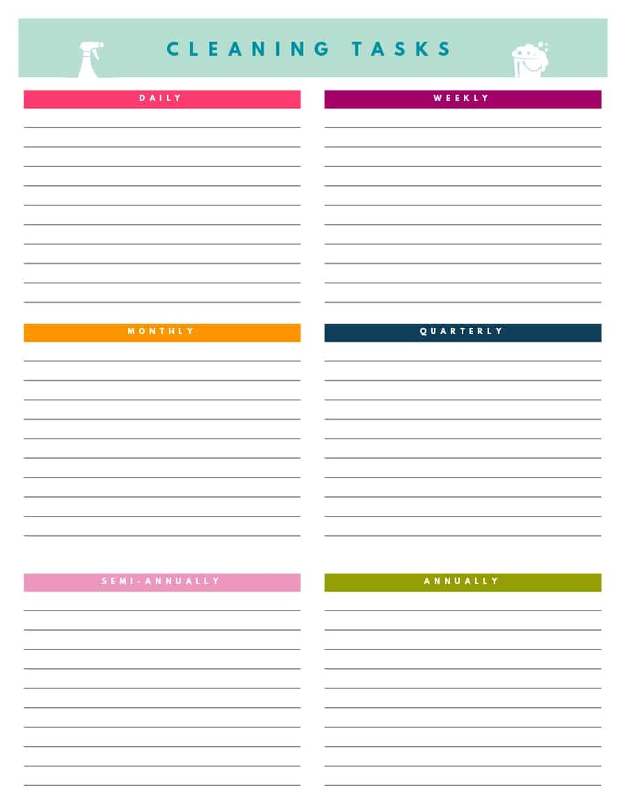Printable House Cleaning Checklist Templates ᐅ Template Lab With Blank Cleaning Schedule Template