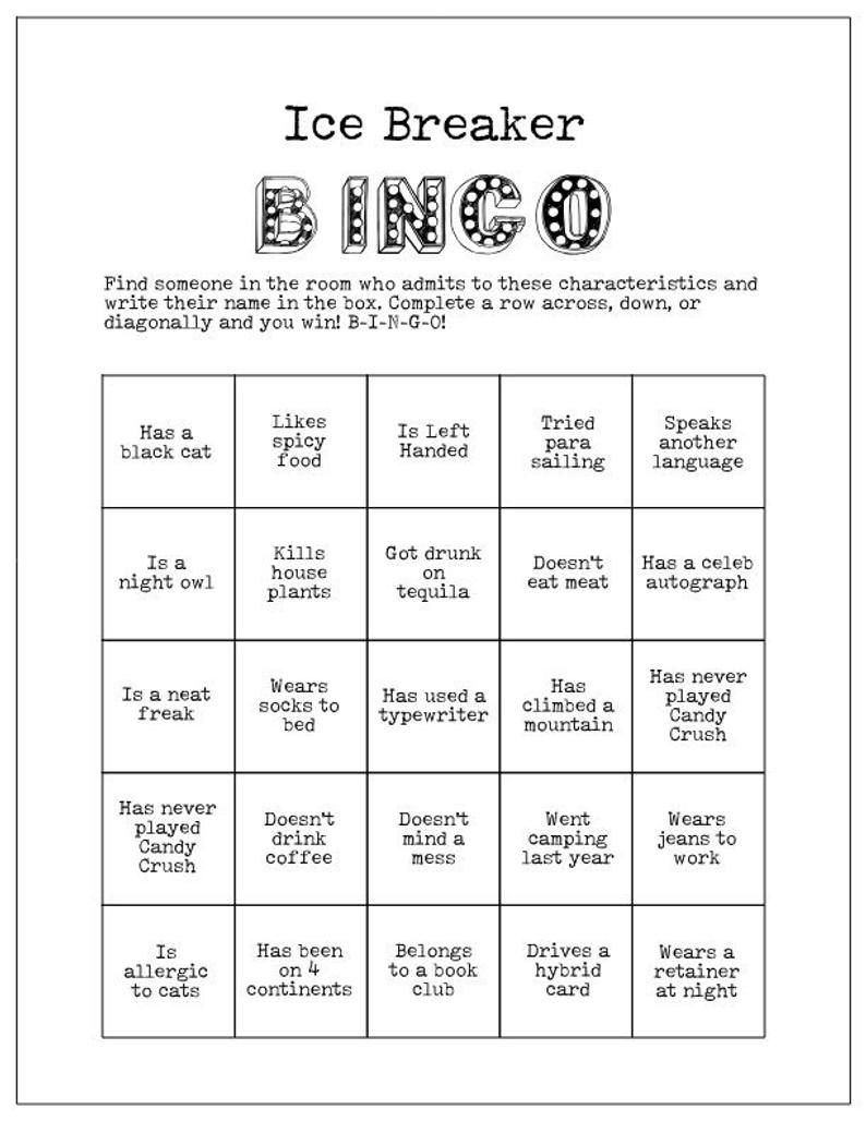Printable Ice Breaker Game Human Bingo Cards Get To Know You Inside Ice Breaker Bingo Card Template