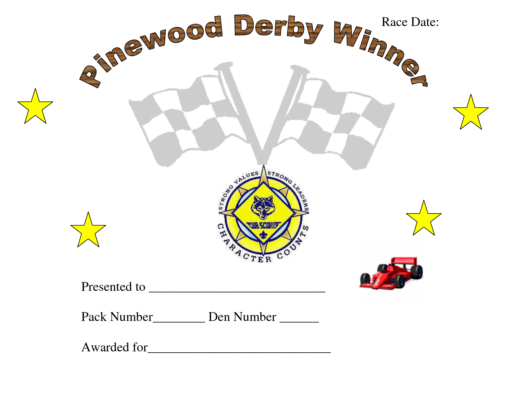 Printable Pinewood Derby Awards  Pinewood Derby Car Award Within Pinewood Derby Certificate Template