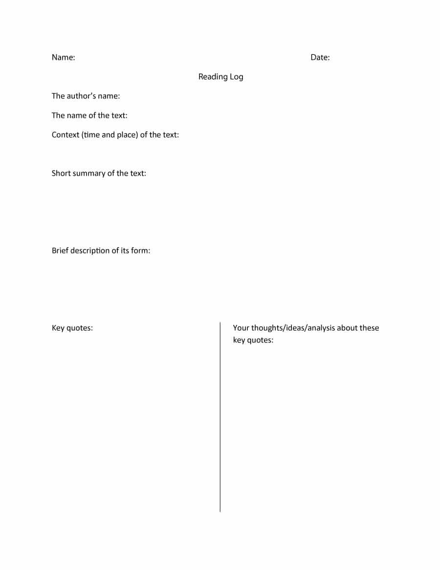Printable Reading Log Templates For Kids Middle School  Adults Pertaining To Report Writing Template Ks1