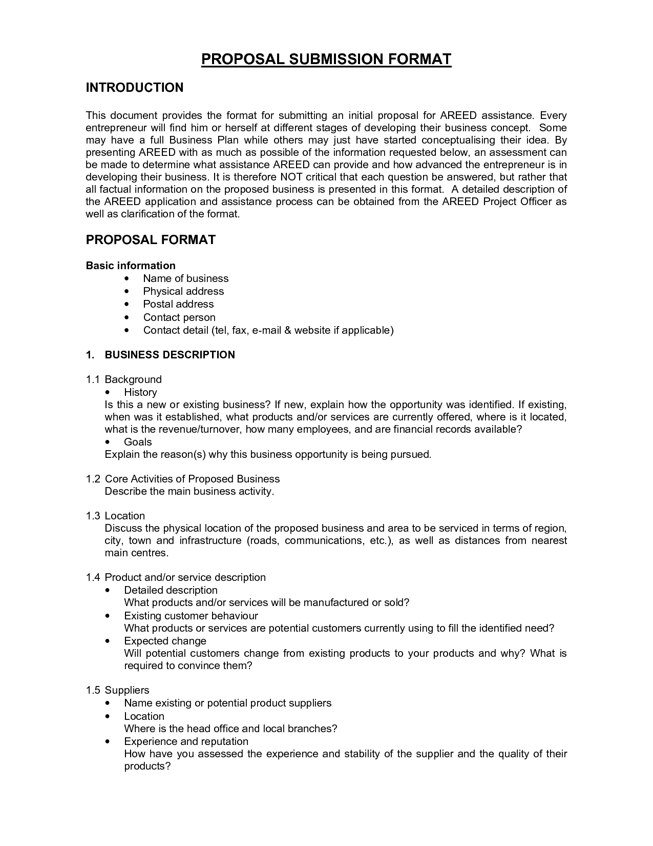 Printable Sample Business Proposal Form  Forms And Template Regarding Business Lease Proposal Template