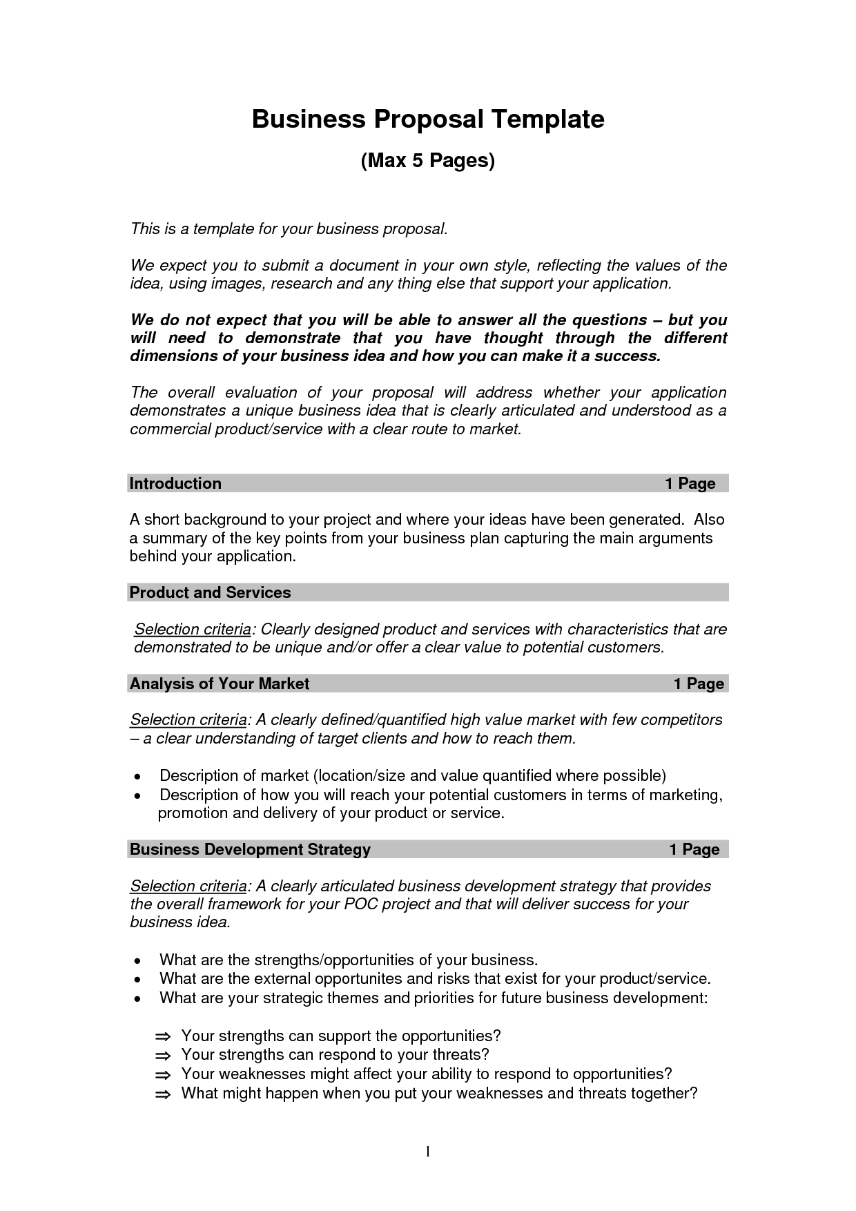 Printable Sample Business Proposal Template Form  Forms And For New Business Project Plan Template