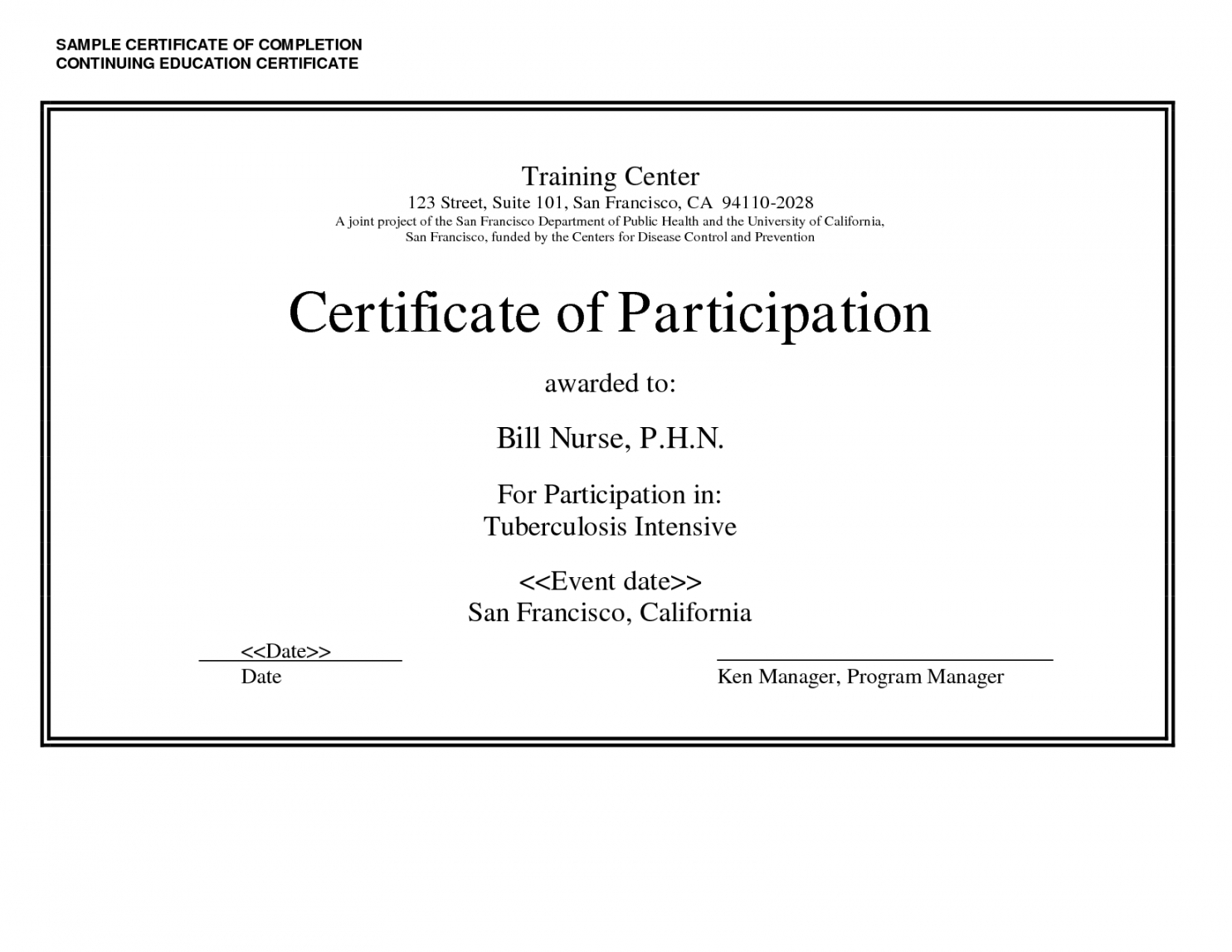 Printable Sample Certificate Of Completion Continuing Education Regarding Continuing Education Certificate Template