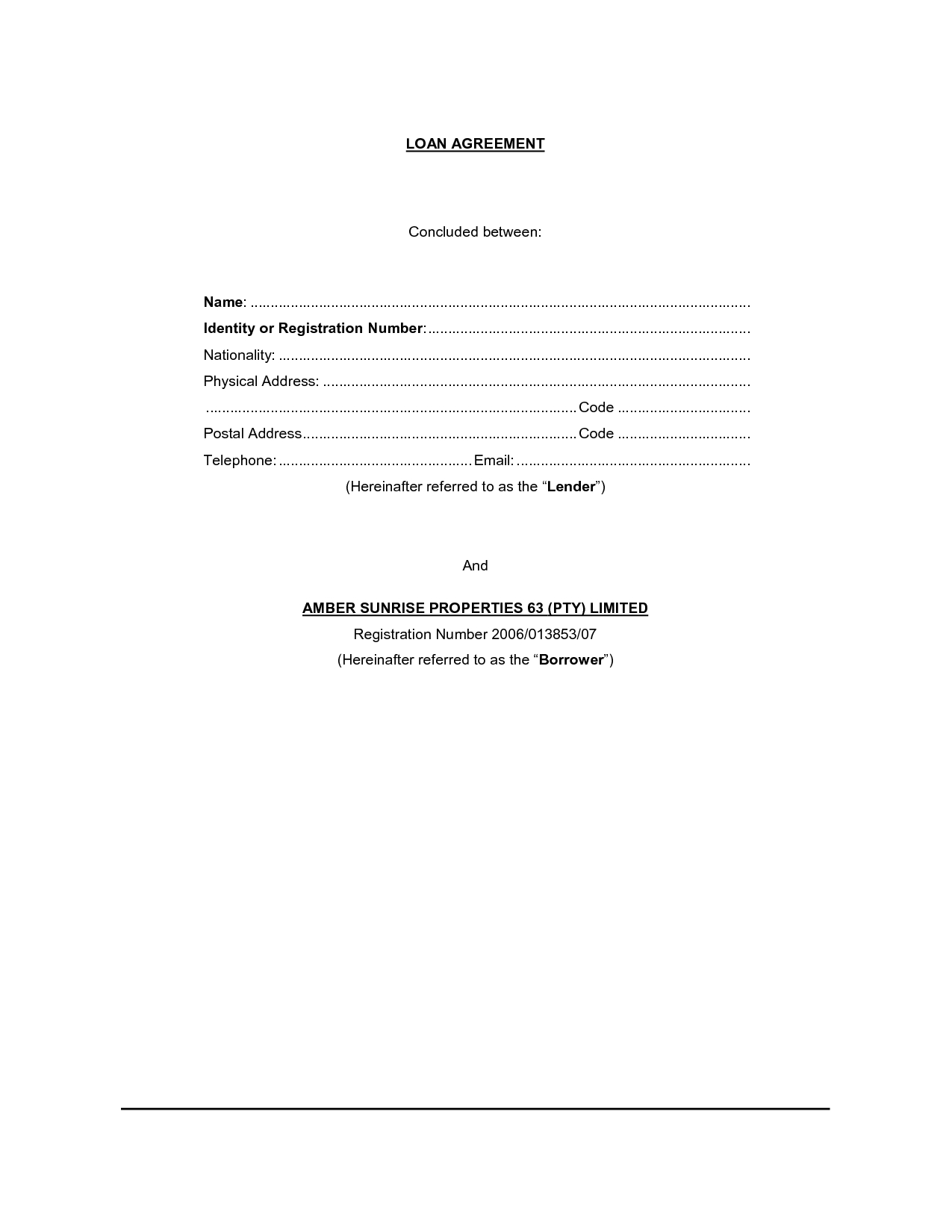 Printable Sample Loan Contract Template Form  Laywers Template With Regard To Construction Loan Agreement Template