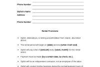 Printable Sample Simple Room Rental Agreement Form inside Beauty Salon Booth Rental Agreement Template