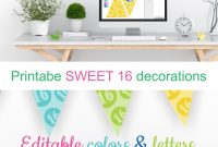Printable Sweet  Decorations  Editable Banner  Customize Colors in Sweet 16 Banner Template