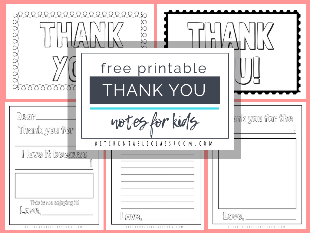 Printable Thank You Cards For Kids  The Kitchen Table Classroom Intended For Thank You Card For Teacher Template