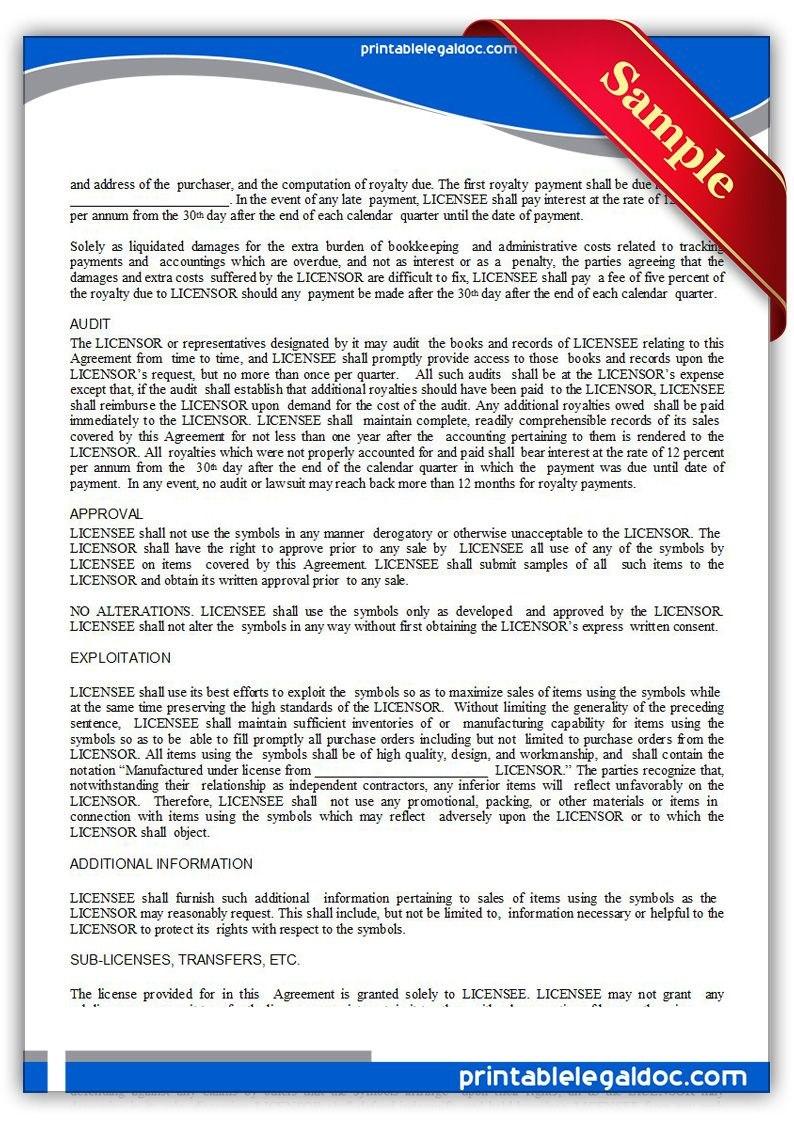 Printable Trademark License Agreement Template  Printable Legal Pertaining To Free Trademark License Agreement Template