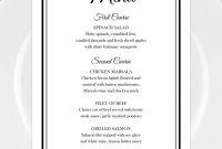 Printable Wedding Menu Template For Microsoft Word • Elegant Black for Rehearsal Dinner Menu Template
