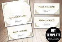 Printable Wedding Placecard Template X Foldover Diy Gold regarding Fold Over Place Card Template