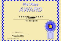 Printable Winner Certificate Templates  Winner Certificate inside First Place Certificate Template