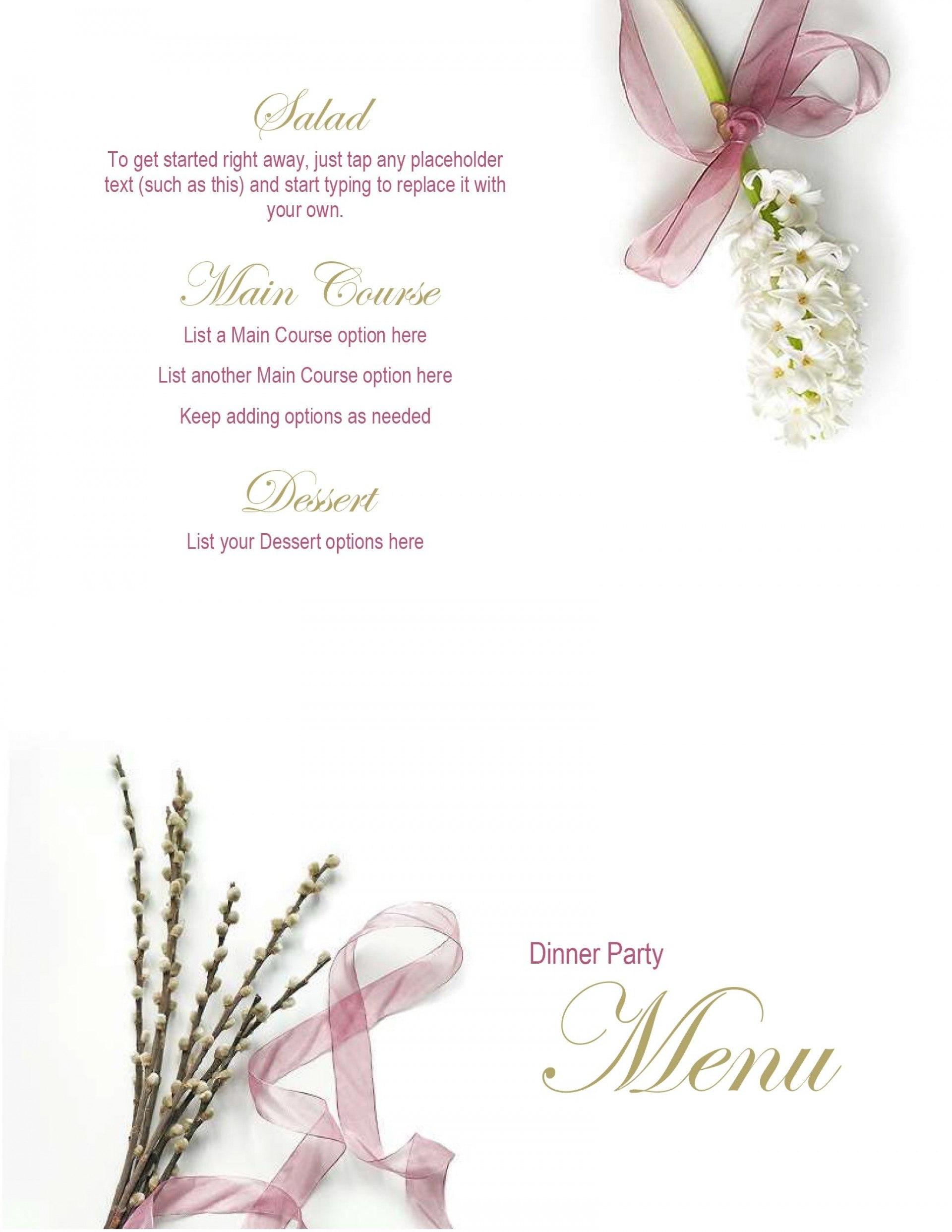 Printable Word Menu Template Imposing Free Templates Regarding Free Printable Menu Templates For Wedding