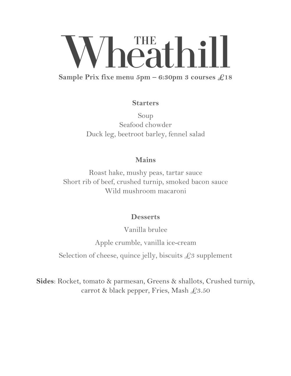 Prix Fixe Menu  The Wheathill Restaurant  Restaurant Menu Formats In Prix Fixe Menu Template