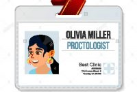 Proctologist Identification Badge Vector Woman Id Card Template for Hospital Id Card Template