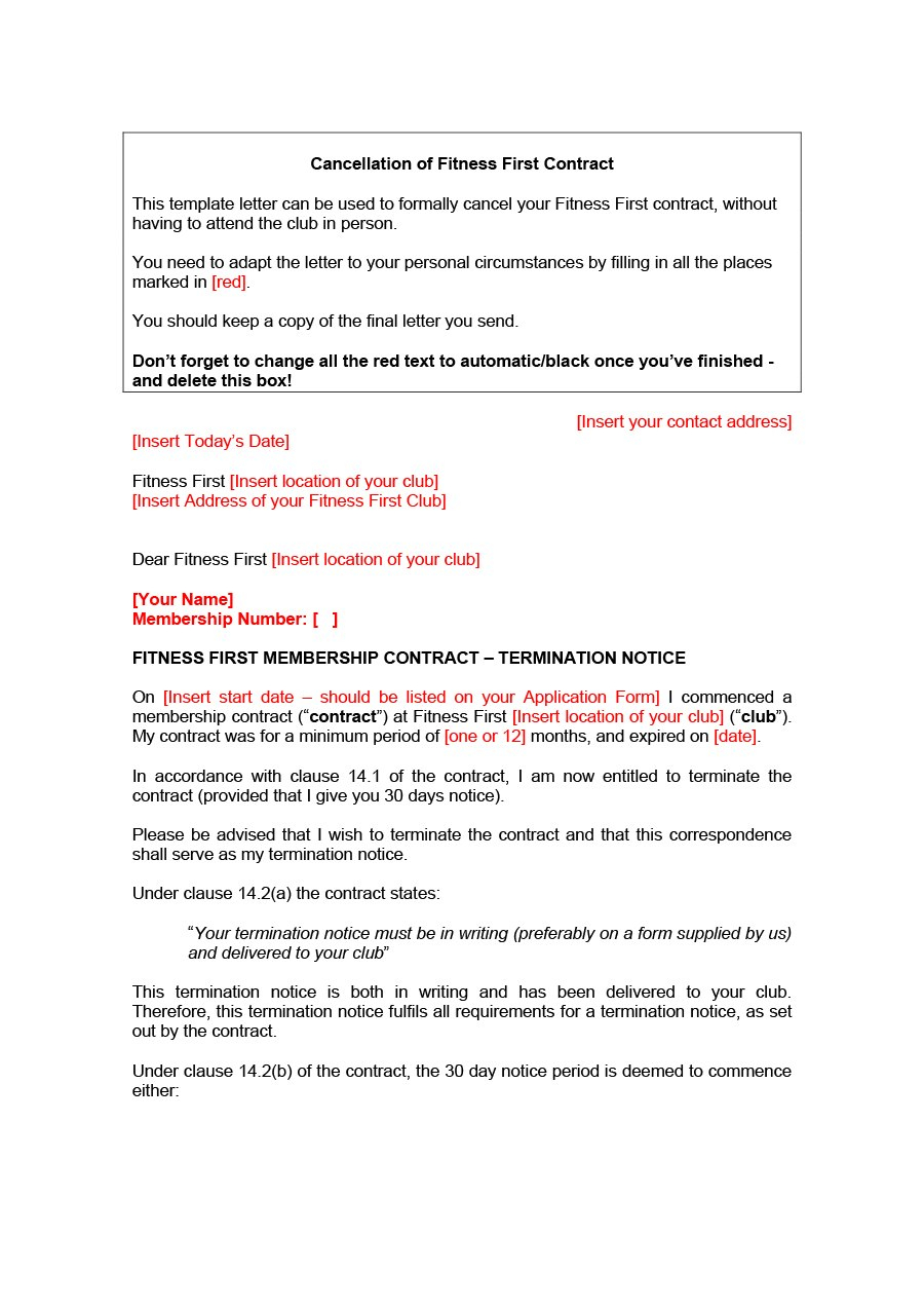 Professional Cancellation Letters Gym Insurance Contract  More Intended For Salon Cancellation Policy Template