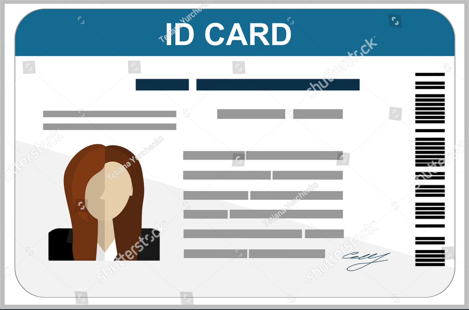 Professional Id Card Designs  Psd Eps Ai Word  Free In Portrait Id Card Template