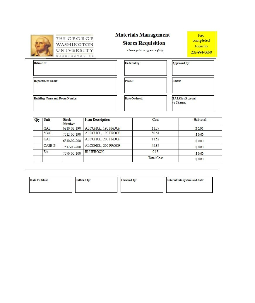 Professional Requisition Forms Purchase  Materials  Lab Within Raw Material Purchase Agreement Template