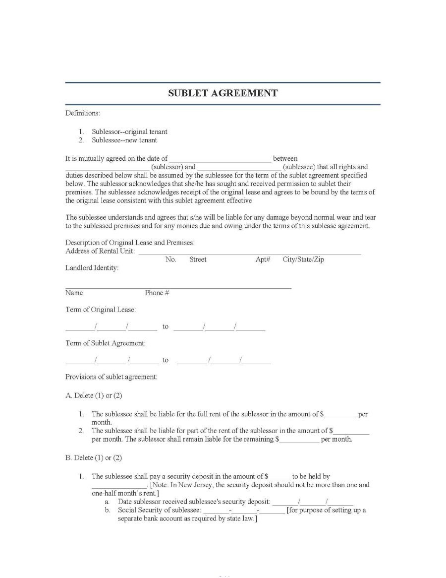 Professional Sublease Agreement Templates  Forms ᐅ Template Lab In Tool Rental Agreement Template