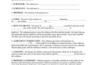 Professional Sublease Agreement Templates  Forms ᐅ Template Lab inside Free Commercial Sublease Agreement Template