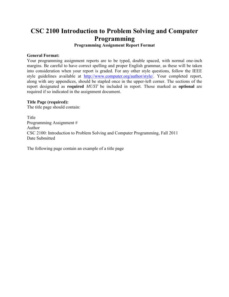 Programming Assignment Report Format Inside Assignment Report Template