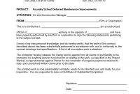 Project Completion Template Company Letter Format For New with regard to Certificate Of Substantial Completion Template