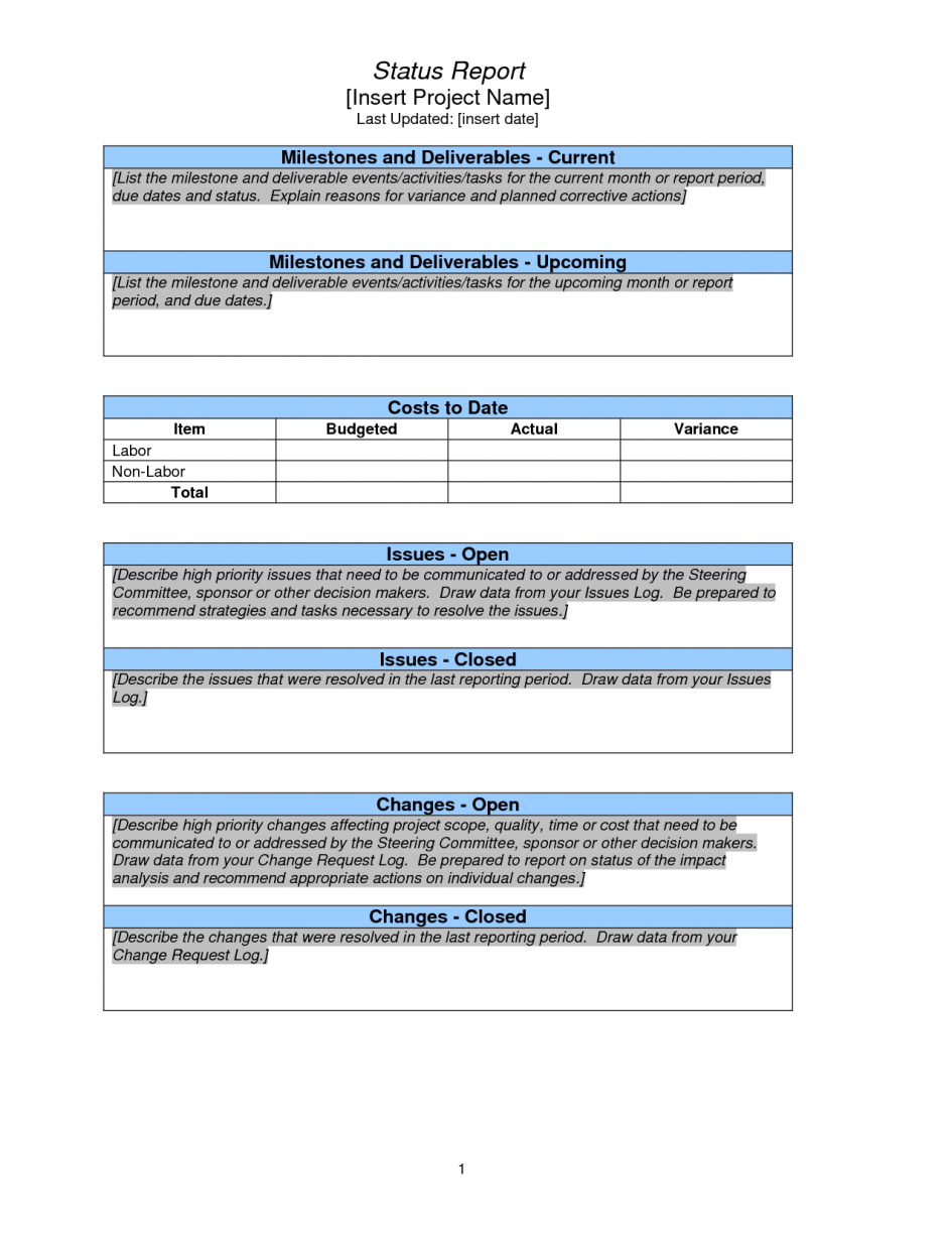 Project Management Project Management Report Template Weekly Throughout Monthly Status Report Template Project Management