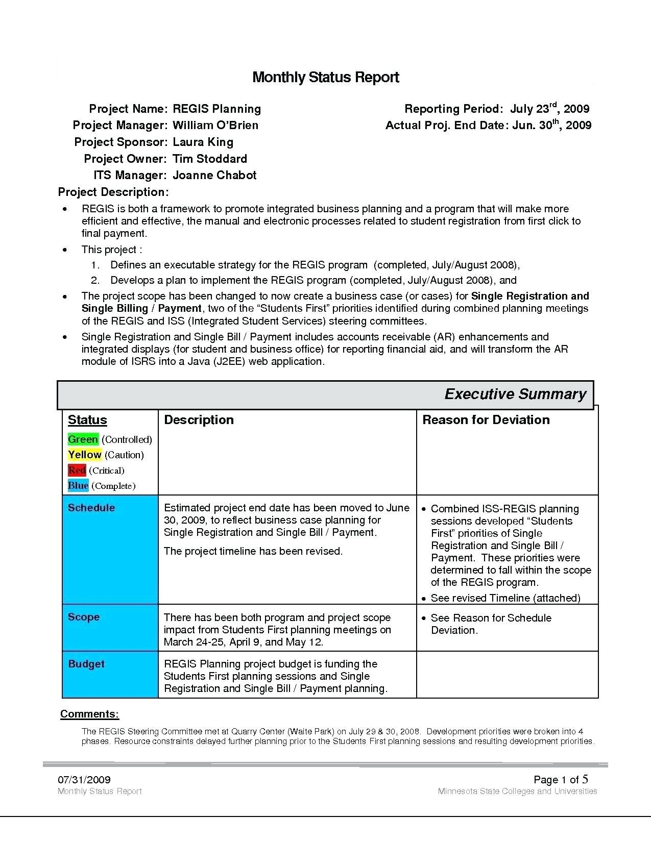 Project Management Template Report Software Example Monthly Rmat Within How To Write A Monthly Report Template