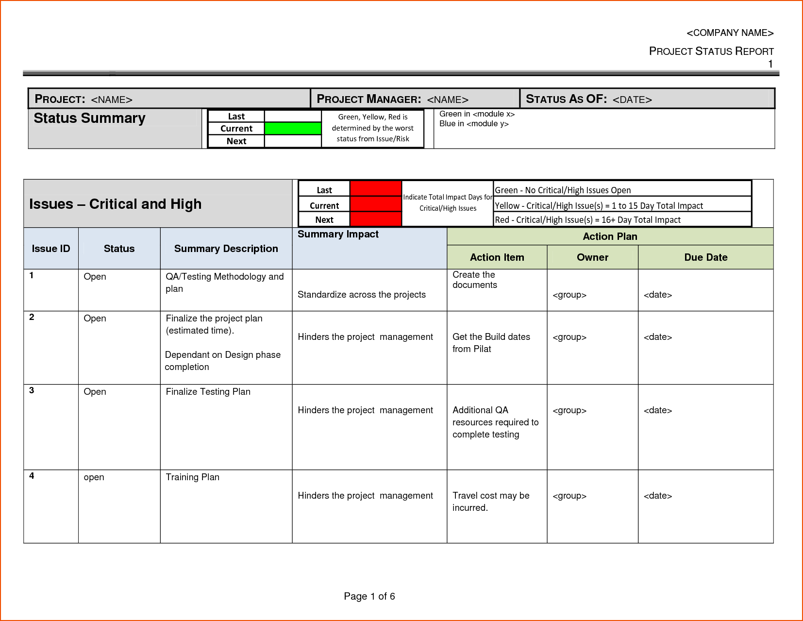 Project Status Report Template  Bookletemplate Inside One Page Status Report Template