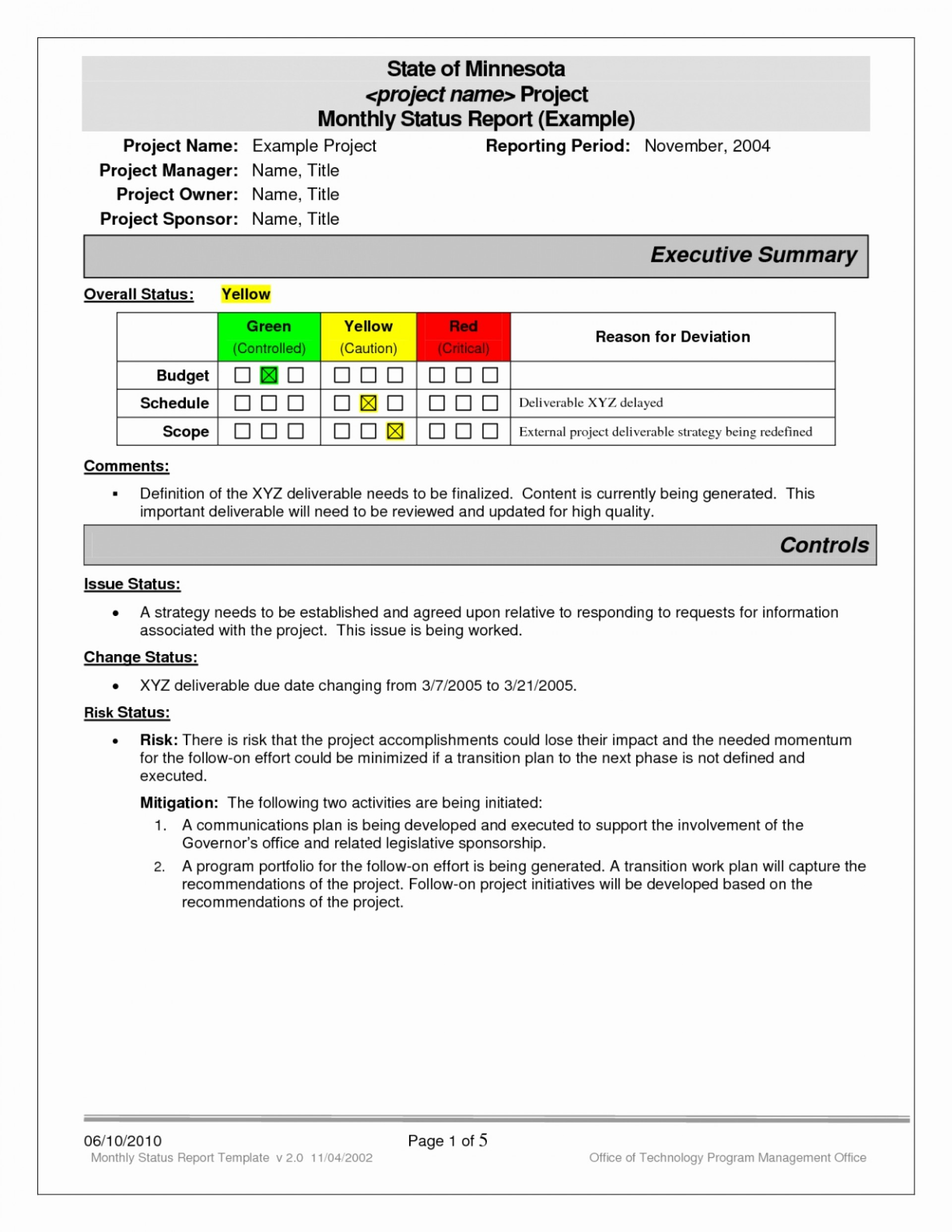 Project Status Report Template Excel Software Testing Awesome Pertaining To Project Monthly Status Report Template