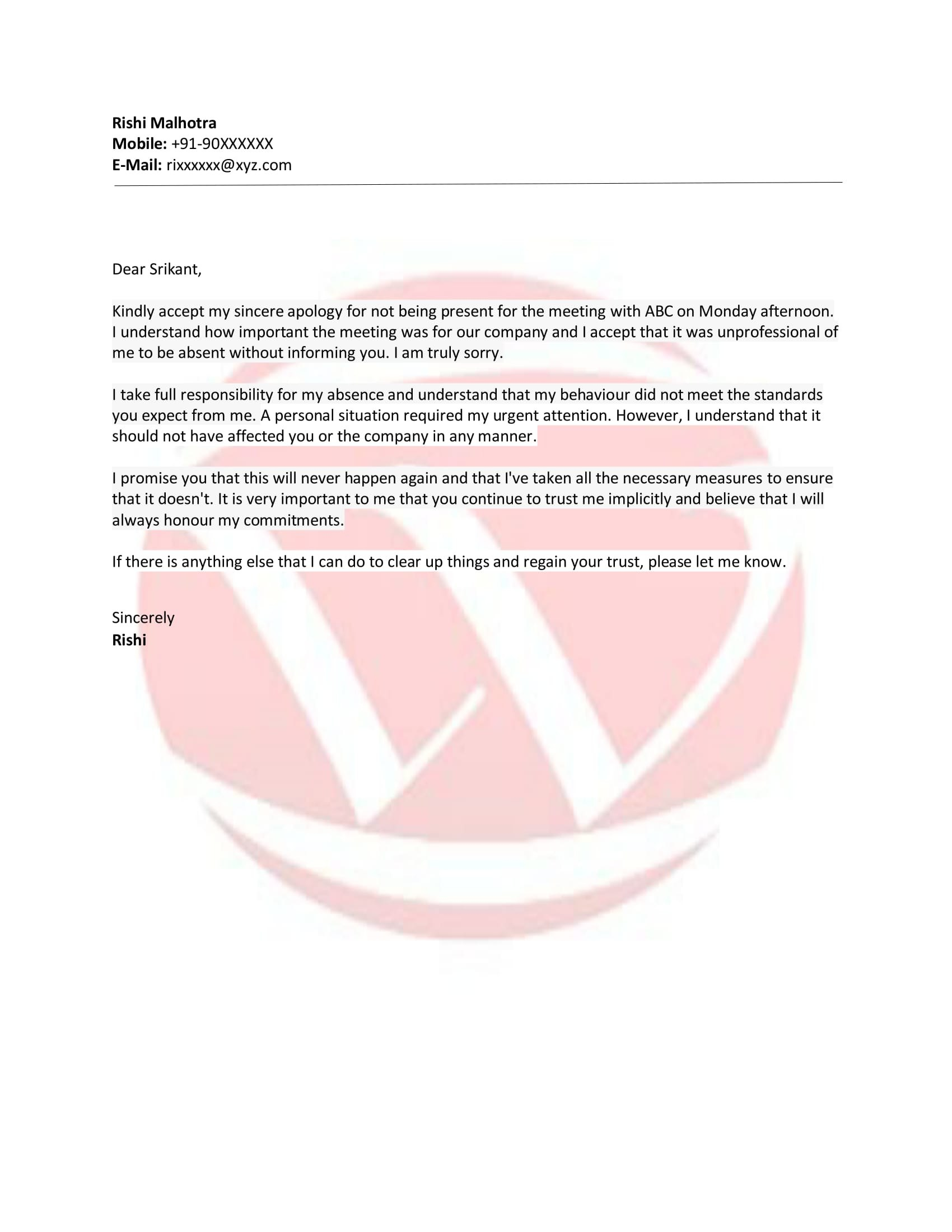 Promise Sample Letter Format Download Letter Format Templates In Promise To Sell Agreement Template