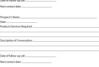 Prospect Sheet Customer Call Follow Up  Call Sheet  Catering intended for Customer Contact Report Template