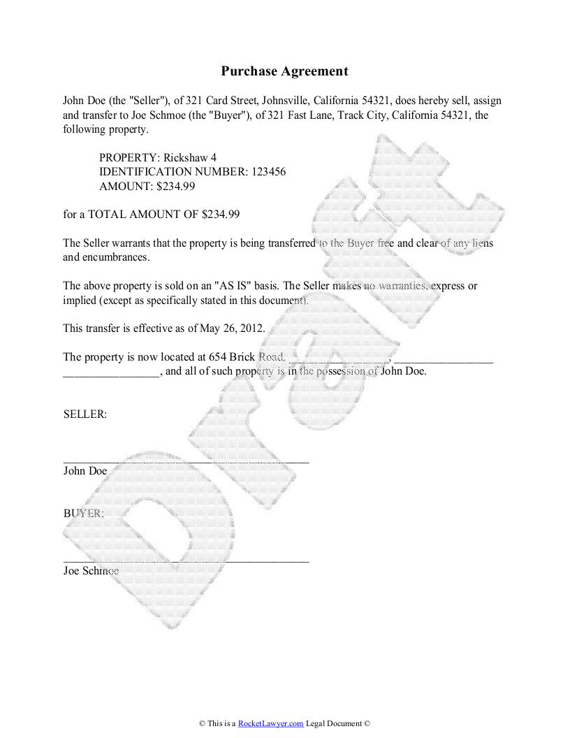 Purchase Agreement Template  Free Purchase Agreement Within Free Business Purchase Agreement Template