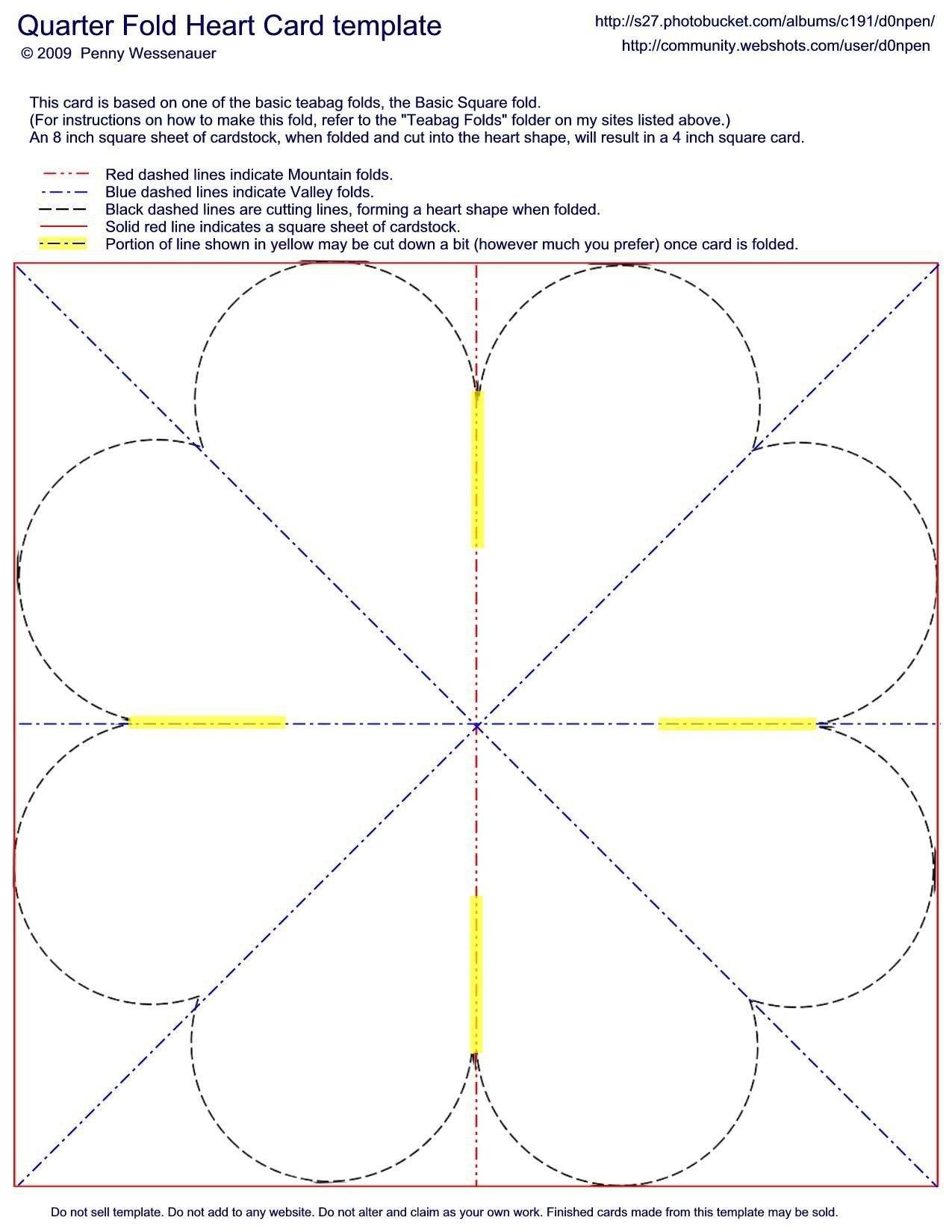 Quarterfold Heart Card Template  Fancy Folds  Card Making For Quarter Fold Card Template