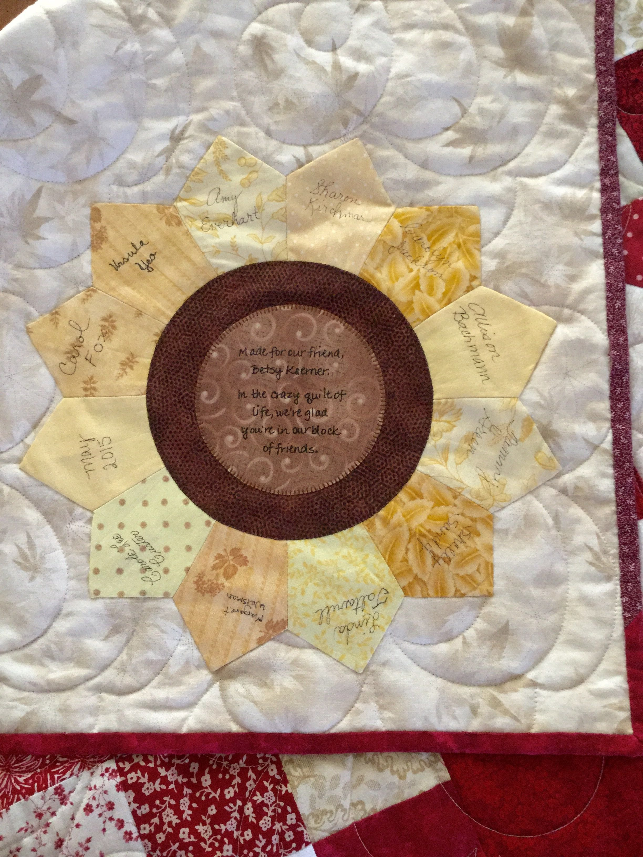Quilt Label Made Using Lori Holt's Tumbler And Circle Templates Inside Quilt Label Templates