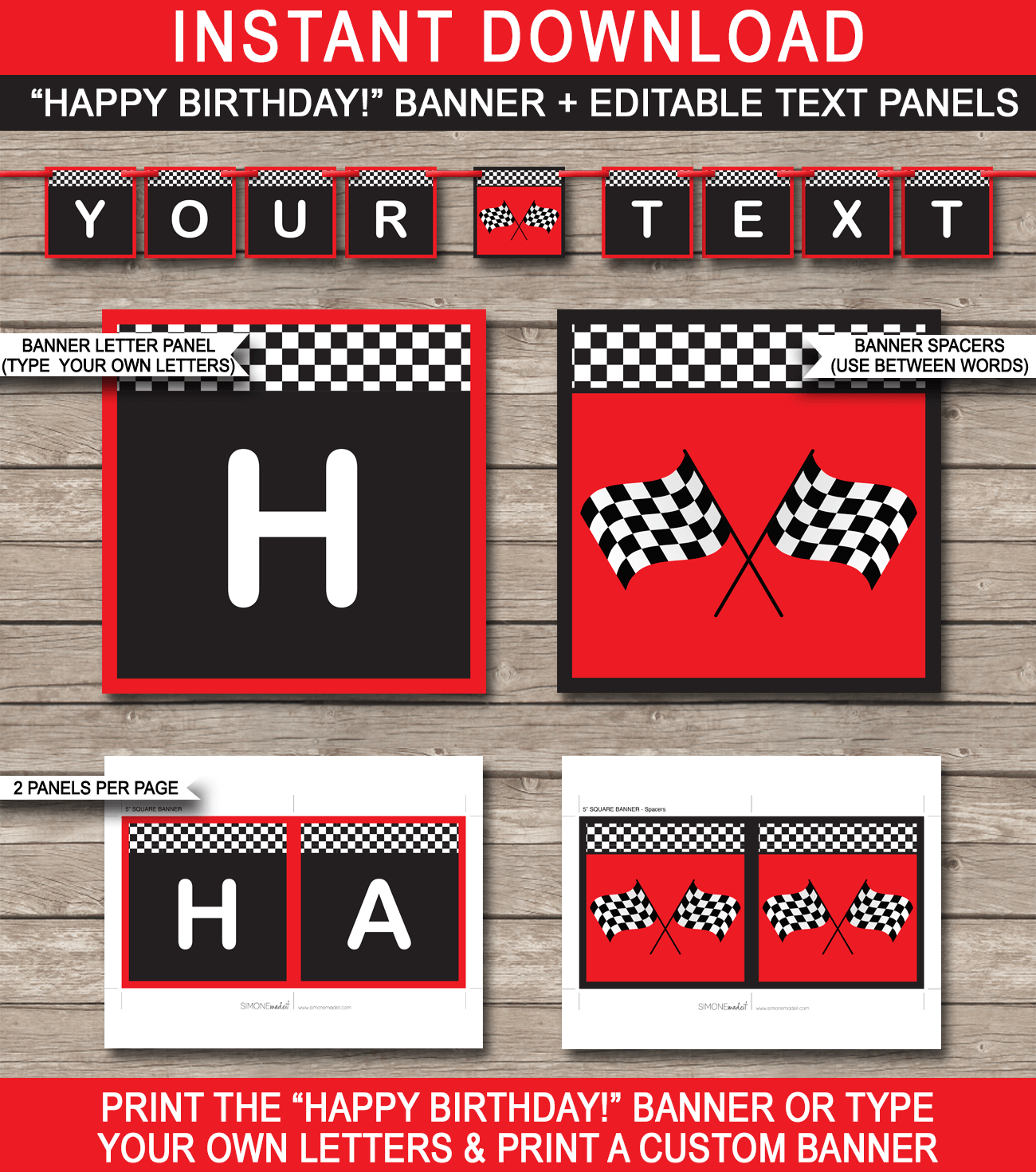 Race Car Party Banner Template  Birthday Banner  Editable Bunting In Cars Birthday Banner Template